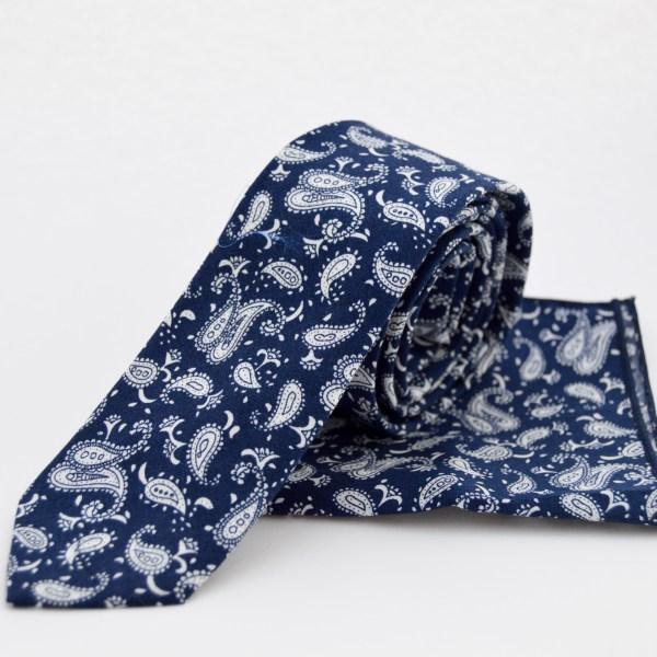 Corbata cachemr azul marino