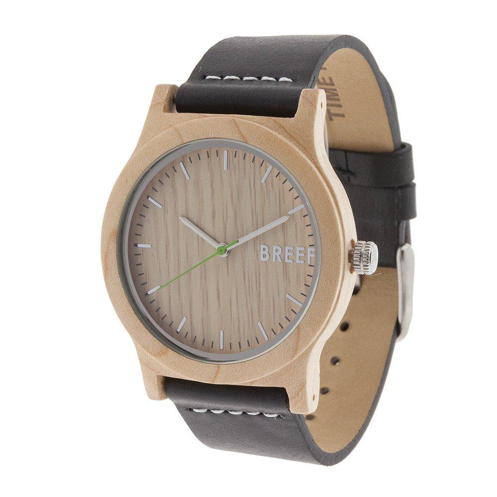 Reloj de madera maple arce breef correa cuero negro 1024x1024